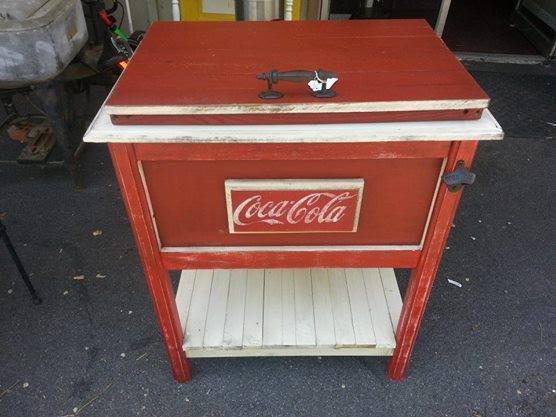 We built this Coca Cola cooler to last and to our customer's specifications. It is very striking in red and white with a distressed look.