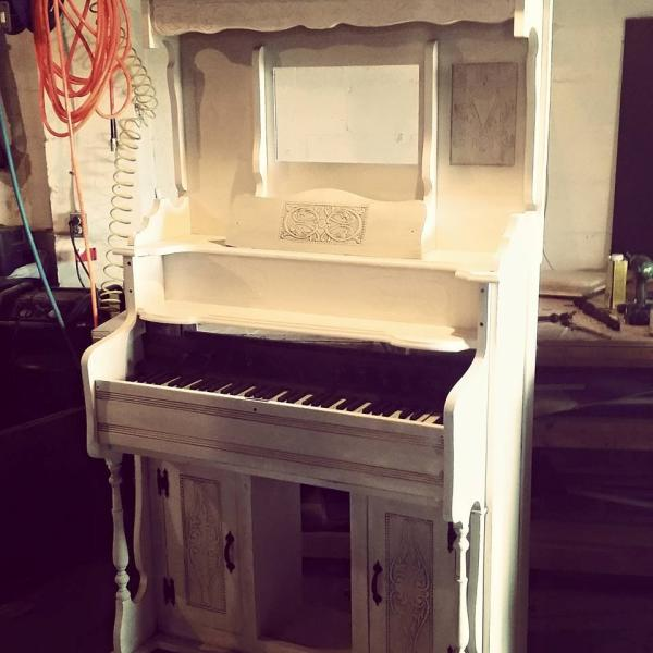 [Image: We worked hard on this beauty and we didn't want to take away from its grandness. Now it will live its life as a grand white piano!]
