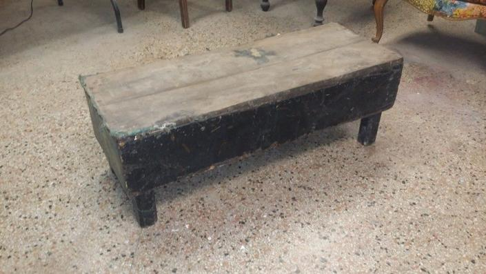 We found this very battered foot stool or table and decided to breathe some new life into it!