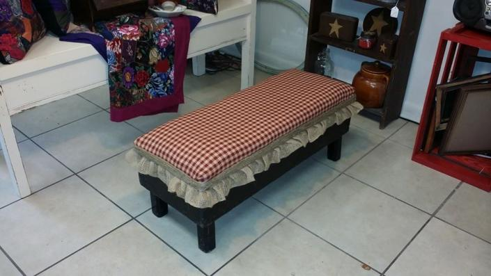 [Image: After refinishing the bottom, we added padding and a nice checkered cloth. Now it is unrecognizable!]